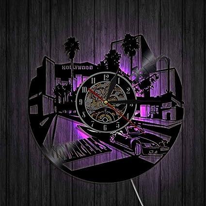 GuoEY 1 Pieza del Paisaje Urbano de Los Angeles de Pared Reloj Art Decó USA LA