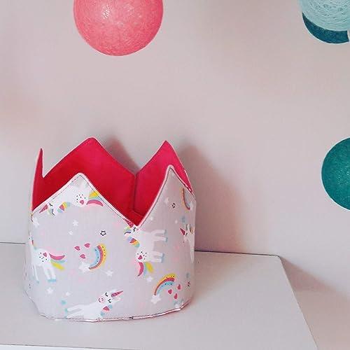 Corona cumpleaños - aniversario tela bebe unicornios: Amazon ...