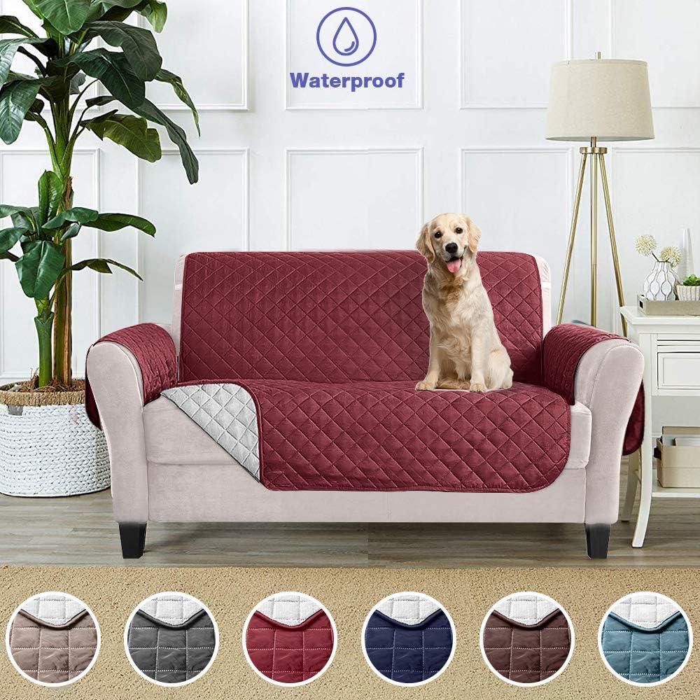 Funda Cubre Sofá Fundas de Sofá Protector Cover para Mascotas Protector de Sofá Cubre para Sofá Impermeable Anti-Sucio para Mascotas Protector de Sofá Muebles - (2 plazas 228 x 190 cm, Borgoña)
