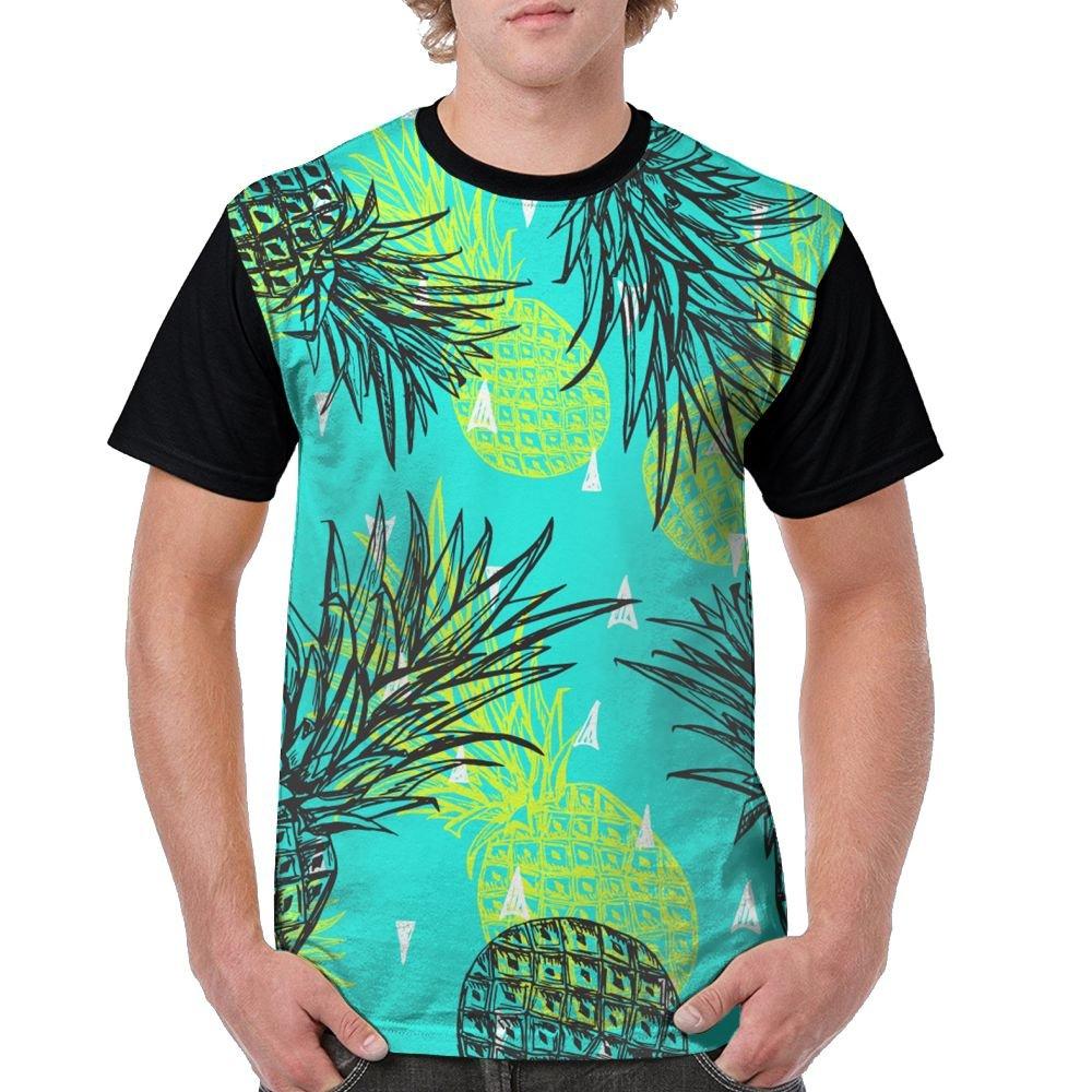 CKS DA WUQ Green Pineapple Men's Raglan Short Sleeve Tops T-Shirt Fashion Undershirts Baseball Tees by CKS DA WUQ
