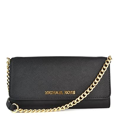 1d1db9e6b18b33 MICHAEL Michael Kors Jet Set Travel Black Leather Chain Wallet one size  Black