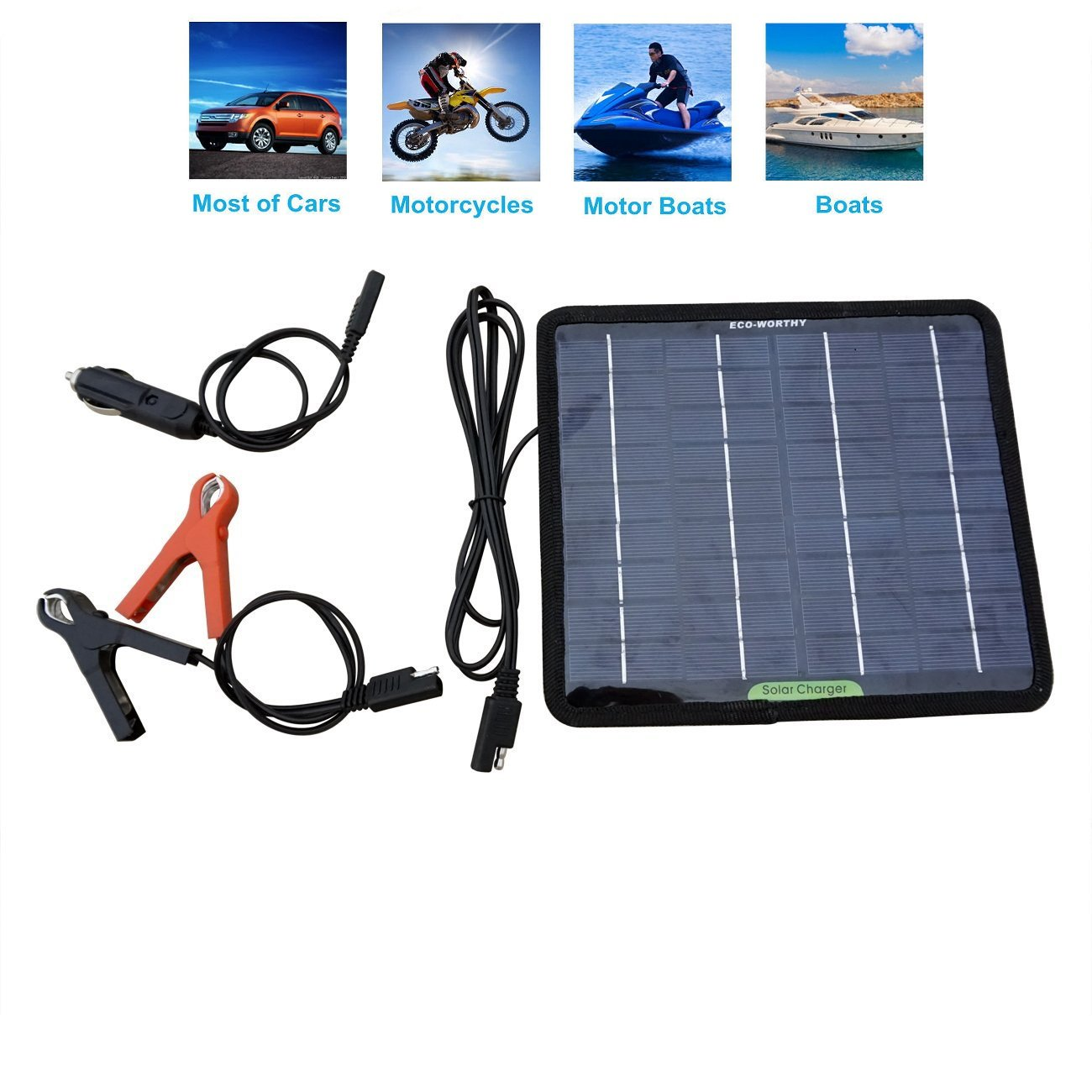 Eco Worthy 12 Volts 5 Watts Portable Power Solar Panel Battery Charger Backup For Car Boat Batteries The Is Electrical Energy Of Cells In Needs Garden Outdoor