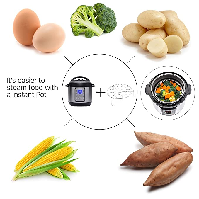 Dravay - Juego de accesorios para ollas instantáneas, juego de vaporizador de verduras - se adapta a ollas instantáneas de 5,6,8 quilates, ...