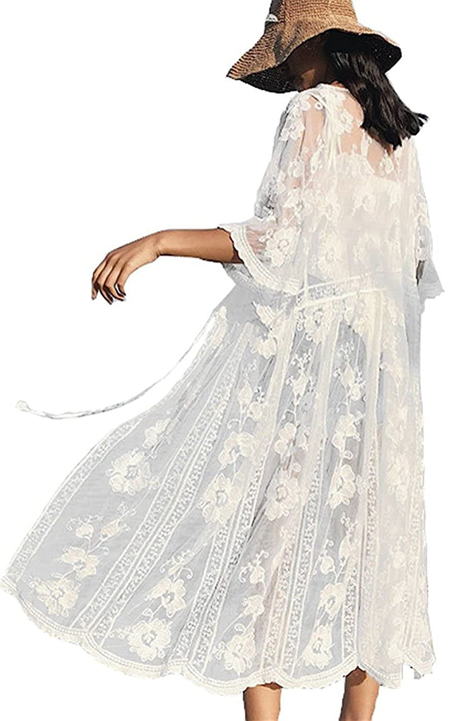 VenuStar Cardigan Womens Long Lace Kimono Beach Cover up Embroidered with 3/4 Sleeves A-White)