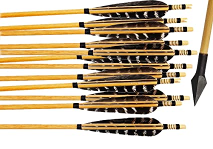 Bcslinek Archery Wooden Target Arrows Hunting Arrows with Metal Broadhead  and Striature Feather Fletching for Recurve Bow or Longbow