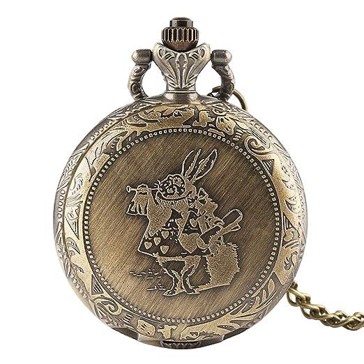 Alicia en el país de Las Maravillas Relojes de Bolsillo, Antiguo, diseño de Conejo Mediano, Reloj de Bolsillo de Cuarzo de Bronce, Hombres: Amazon.es: ...