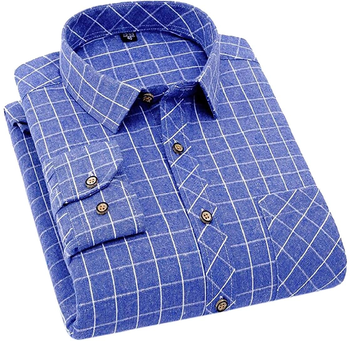 Gnao Mens Checked Casual Buttons Cotton Flap Pockets Non-Iron Slim Fit Lapel Shirts