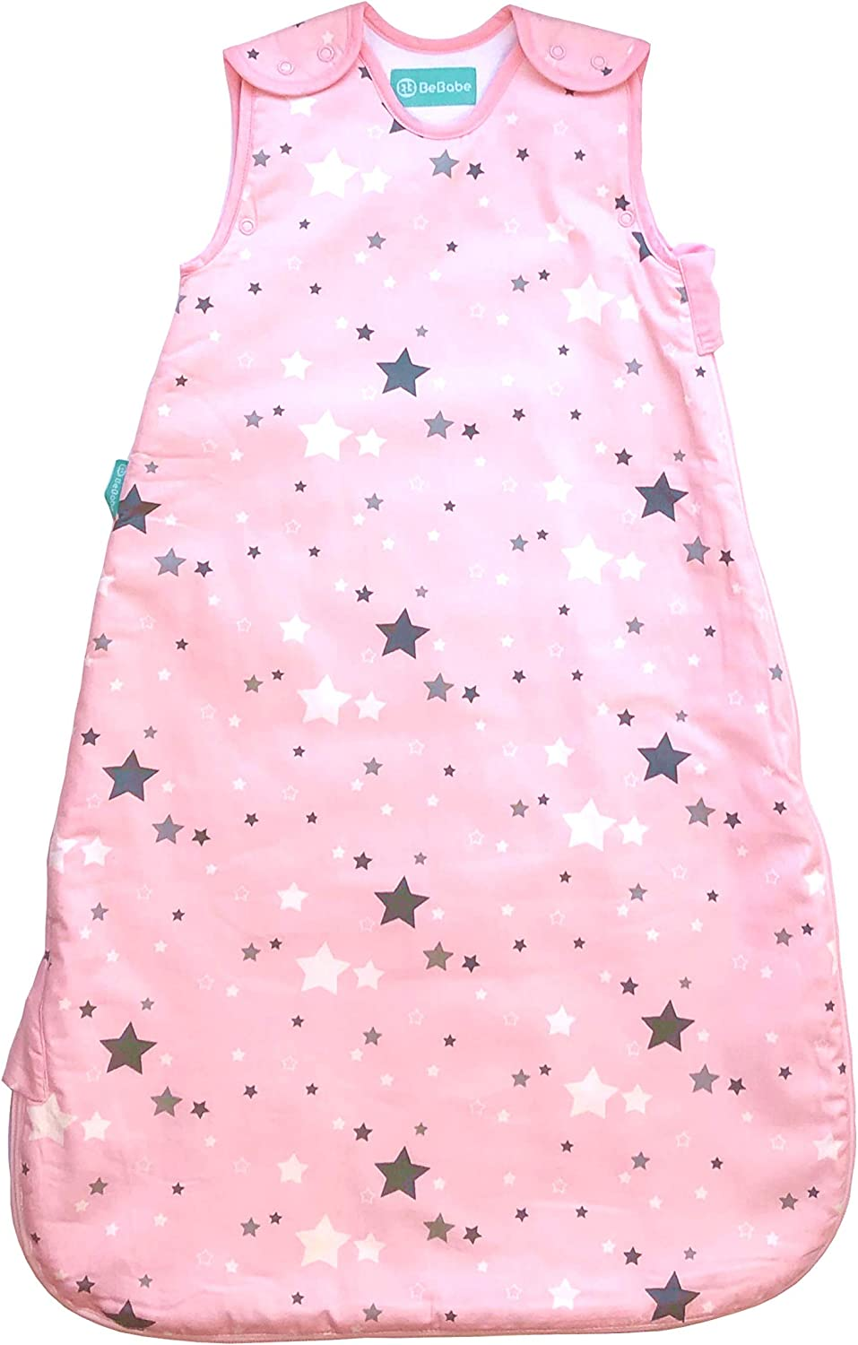 Baby Girl Be Babe Baby Sleeping Bag 1 tog Two-Way Zip Opening Pink Star Baby Blanket for Cots Cribs and Travel Free Muslin 50cmx50cm 6-18 Months Baby Sleep Bag for Newborn