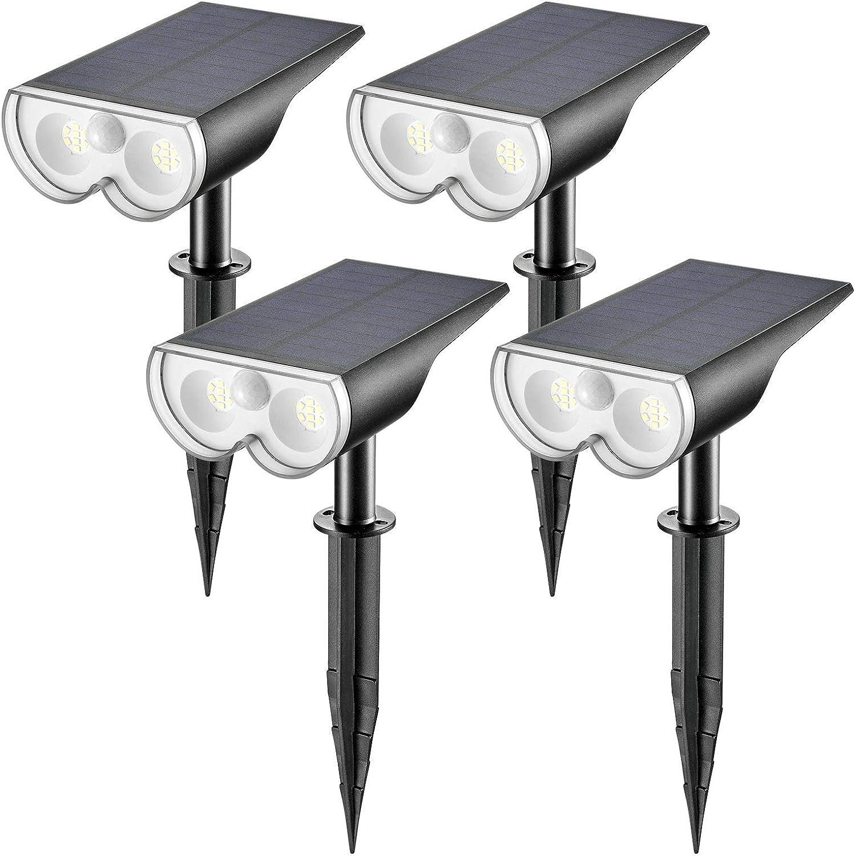 Linkind LED Solar Motion Sensor Landscape Spotlights, Max 650lm IP67 Waterproof Outdoor Landscape Lights Wireless Solar Powered Lights for Garden Yard Driveway Porch Walkway, 4 Pack, Cold White