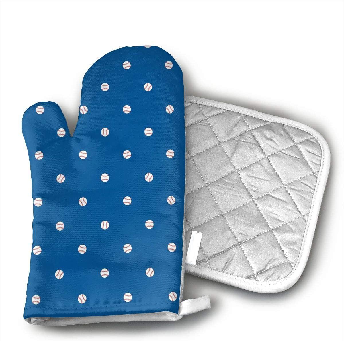 MEILVWEN Baseballs Dodger Blue Oven Mitt and Pot Holder Set,Heat Resistant for Cooking and Baking Kitchen Gift