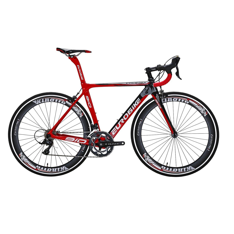 EUROBIKE C910 ロードバイク 700C 炭素繊維フレーム 炭素繊維フロントフォークロードバイク 3000 18S手動変速 钳形ブレーキ超軽量 自転車 B078ZW8WJ6赤と黒