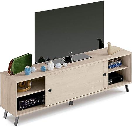 Pitarch Mueble TV Manaslu Puerta corredera salón Comedor Color Roble Negro Mesa televisión 160x40x52 cm: Amazon.es: Hogar