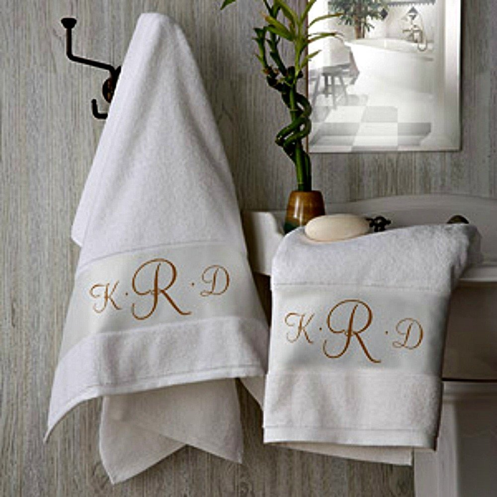 Four Piece Monogrammed Towel Set; Bath Sheet (35 x 70) Hand Towel Wash Cloth and Bath Mat