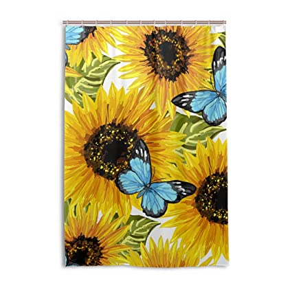 Sunflower With Butterfly Shower Curtain Bath Curtains Hooks 48 X 72 Inches Polyester Fabric Waterproof For
