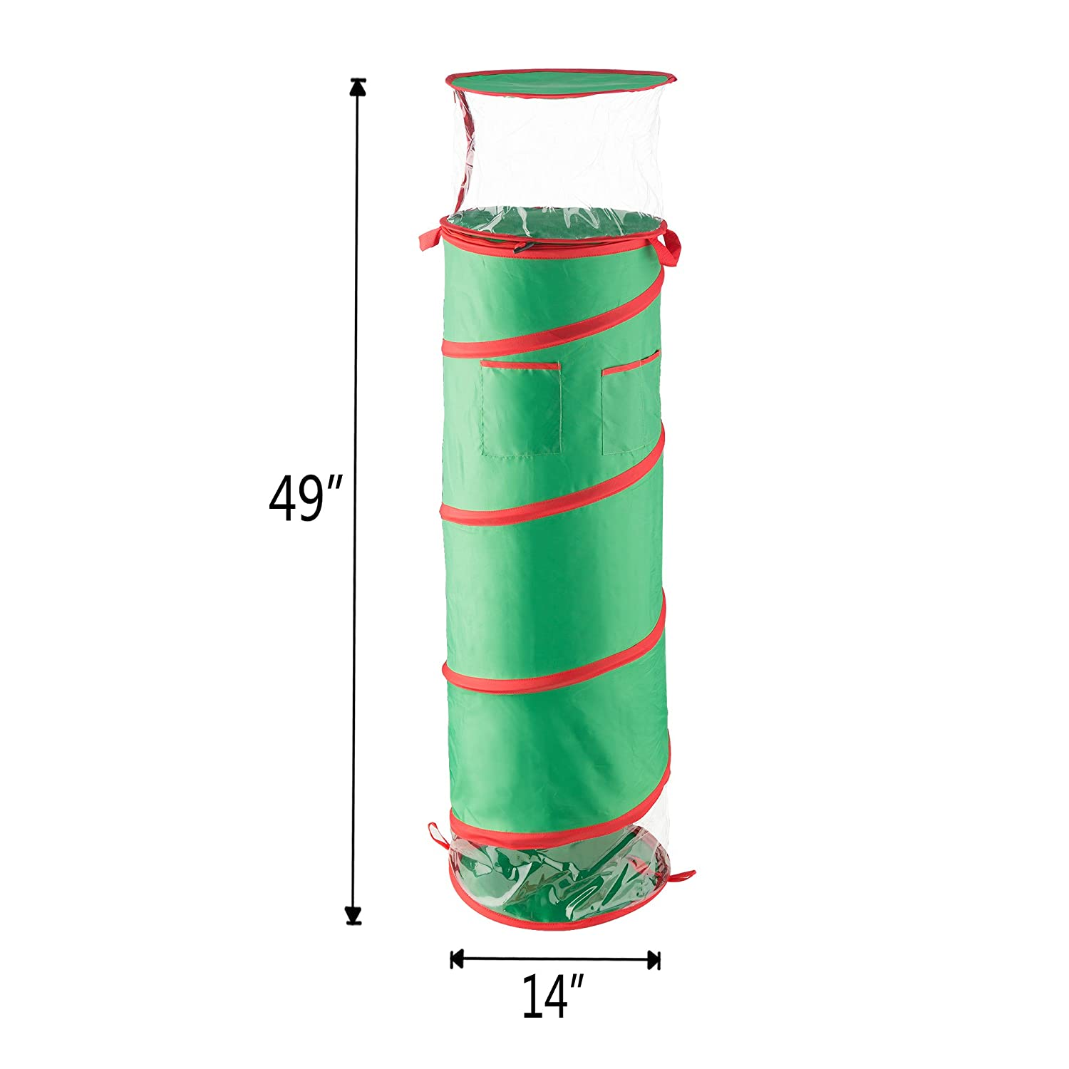 Elf Stor 83-DT5176 1580 40 Inch Tall Pop Up Gift Wrap Storage Fold-able Removable Bow Bag Green