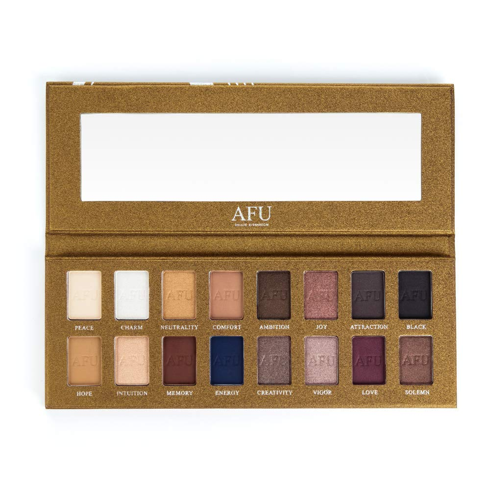 AFU High Pigmented Eyeshadow Palette Matte + Shimmer 16 Colors Makeup Natural Bronze Neutral Smokey Blendable Waterproof Eye Shadows Cosmetic - E-11 by AFU (Image #3)