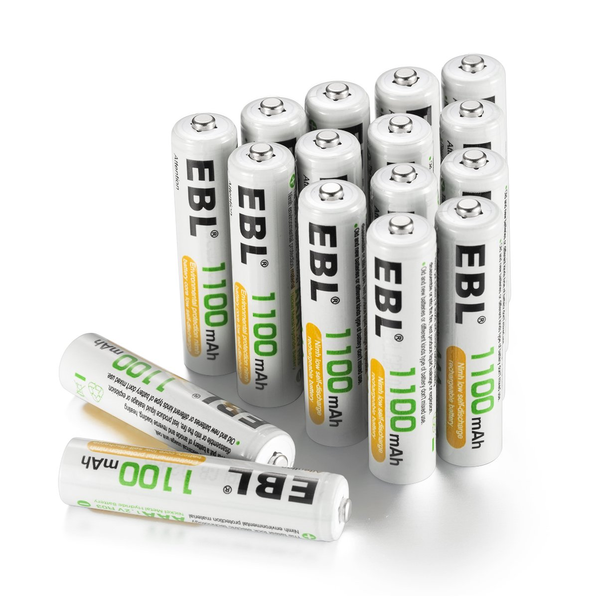 EBL 16 Pack AAA 1100mAh High Capacity Rechargeable Batteries 1.2V Ni-MH 1200 Cycles With Battery Case EB-81224