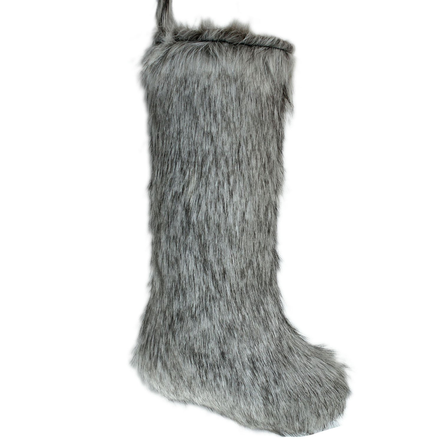 Amazoncom Gireshome Grey Faux Fur Christmas Stocking Xmas Tree Decor