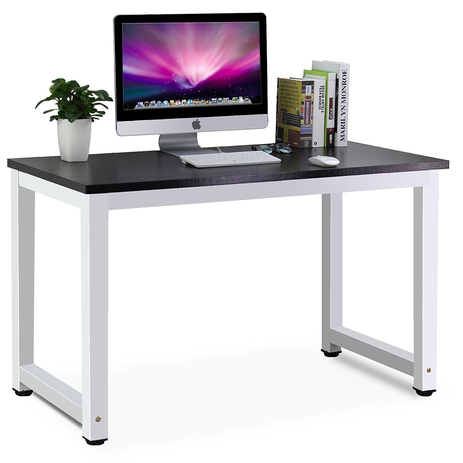 amazoncom tribesigns modern simple style computer desk pc laptop study table workstation for home office black office products
