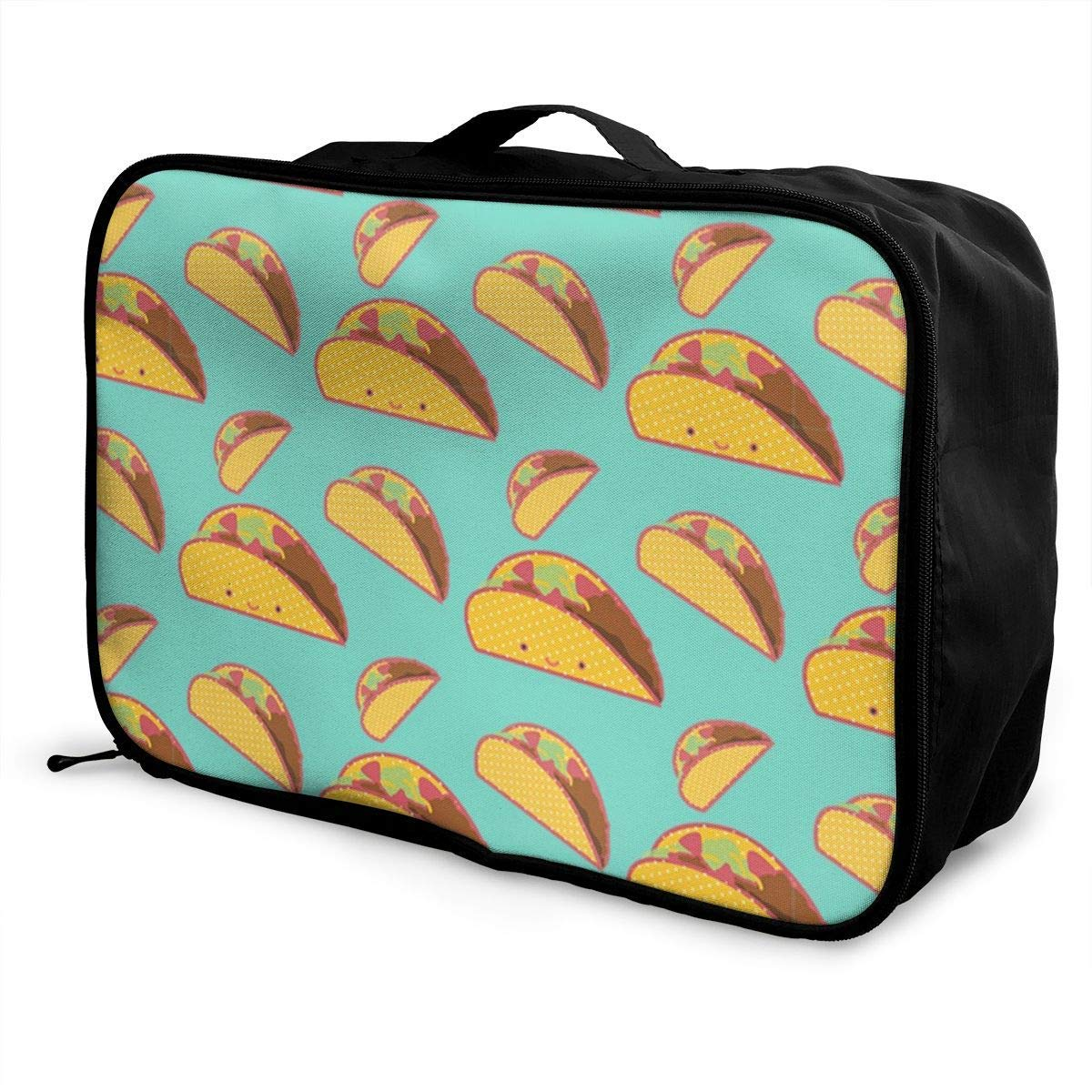 Smile Mexican Tacos Vintage JTRVW Luggage Bags for Travel Travel Lightweight Waterproof Foldable Storage Carry Luggage Duffle Tote Bag