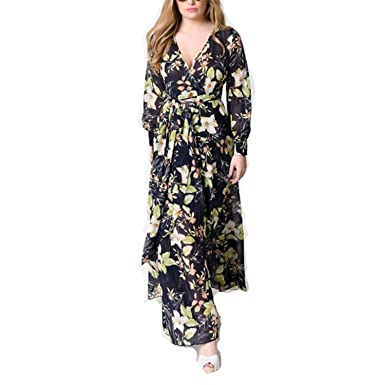 bebfb9be8ad Image Unavailable. Image not available for. Color  Dress-shop Women Floral  Bohemia Beach Long Spring Summer Plus Size Chiffon ...