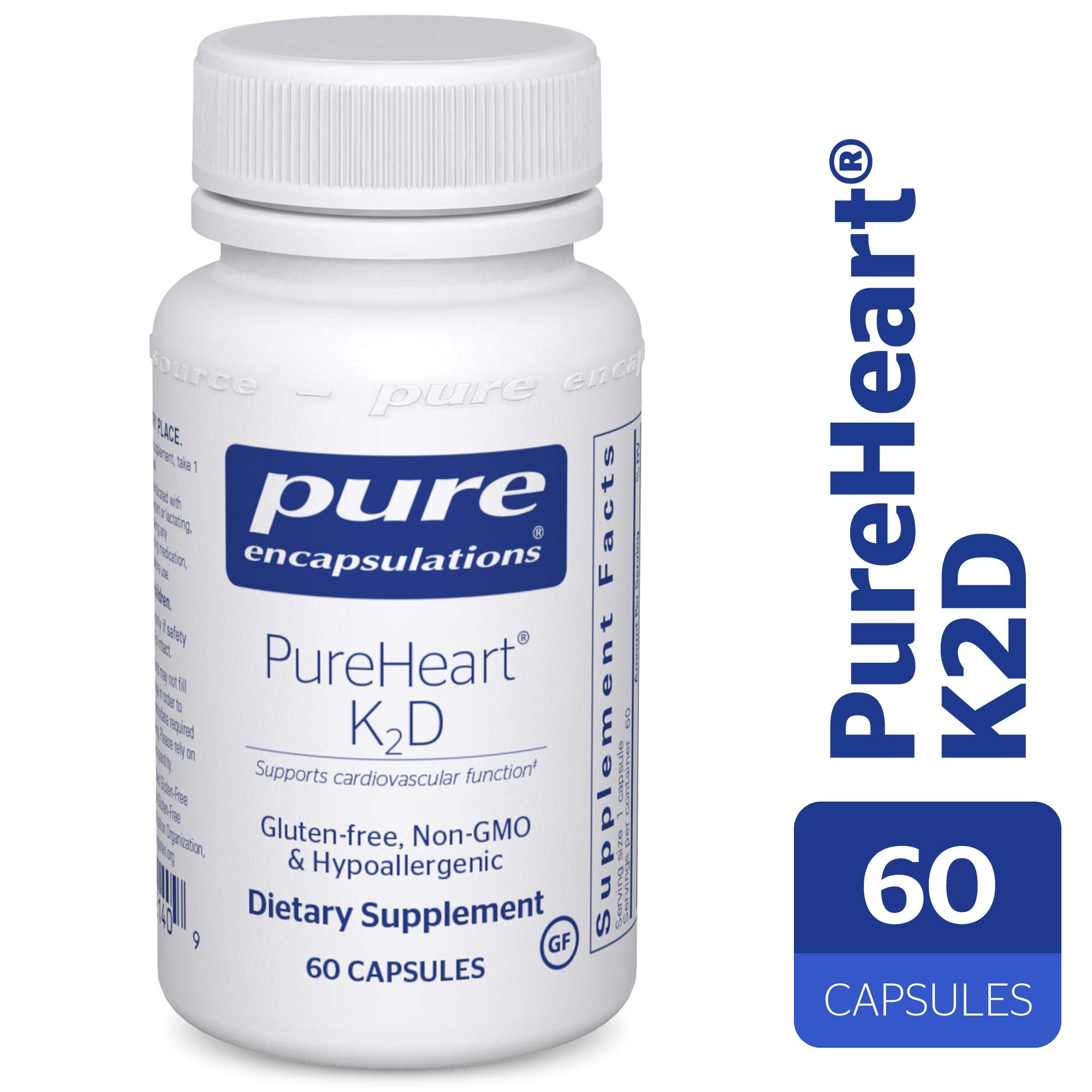 Pure Encapsulations - PureHeart K2D - Hypoallergenic Supplement to Promote Calcium Homeostasis and Cardiovascular Function* - 60 Capsules by Pure Encapsulations