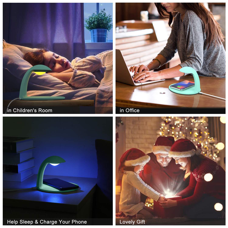 Luce Notturna LED con 7 Colori Tocca Controllo Bianco AURSEN 3 in 1 Caricatore Wireless 10W Fast Wireless Charger Bel Regalo Luce Notturna Bambini con Luminosit/à Regolabile Facile da Usare