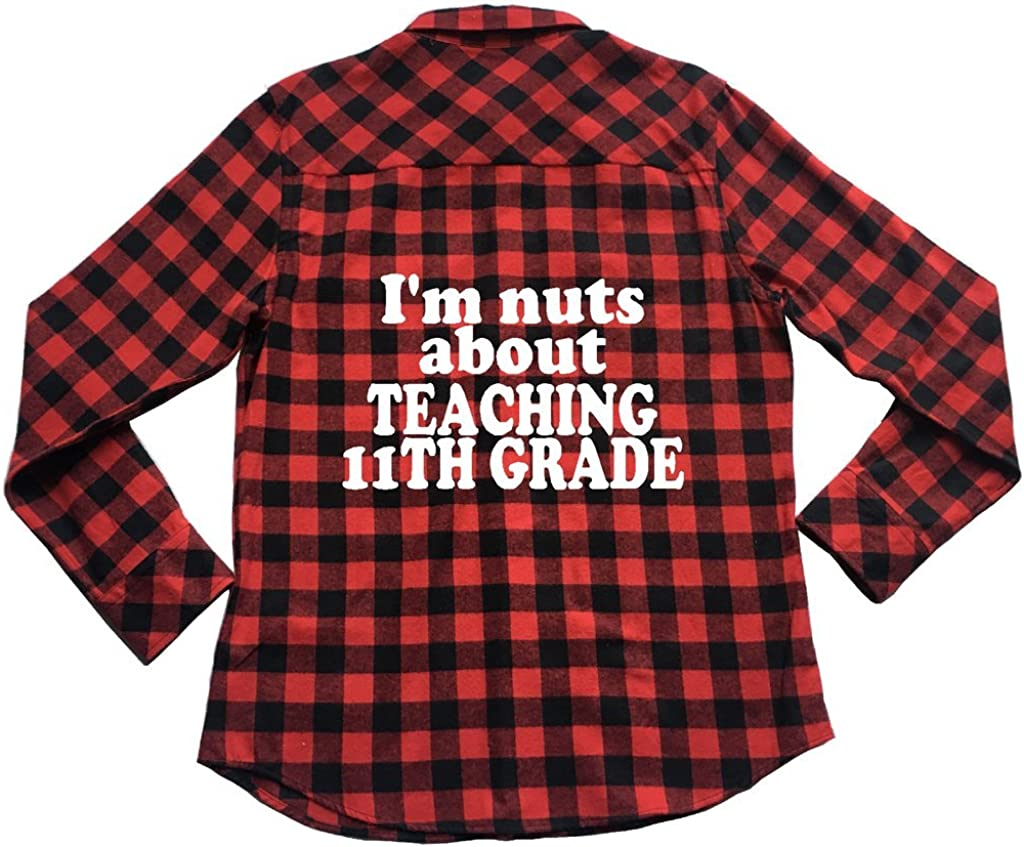 Apple Orange Gifts Im Nuts About Teaching 11th Grade Unisex Plaid Flannel Shirt
