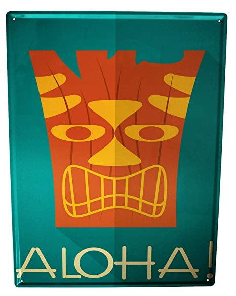 Cartel Letrero de Chapa XXL Retro Aloha: Amazon.es: Hogar