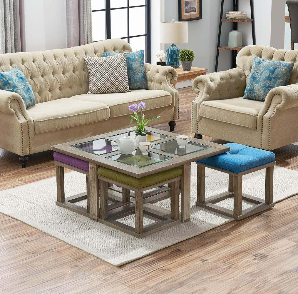 O&K Furniture Square Coffee Table with 4 Nesting Stools, Cocktail Height Coffee Table with Tempered Glass, 5-Pieces Set