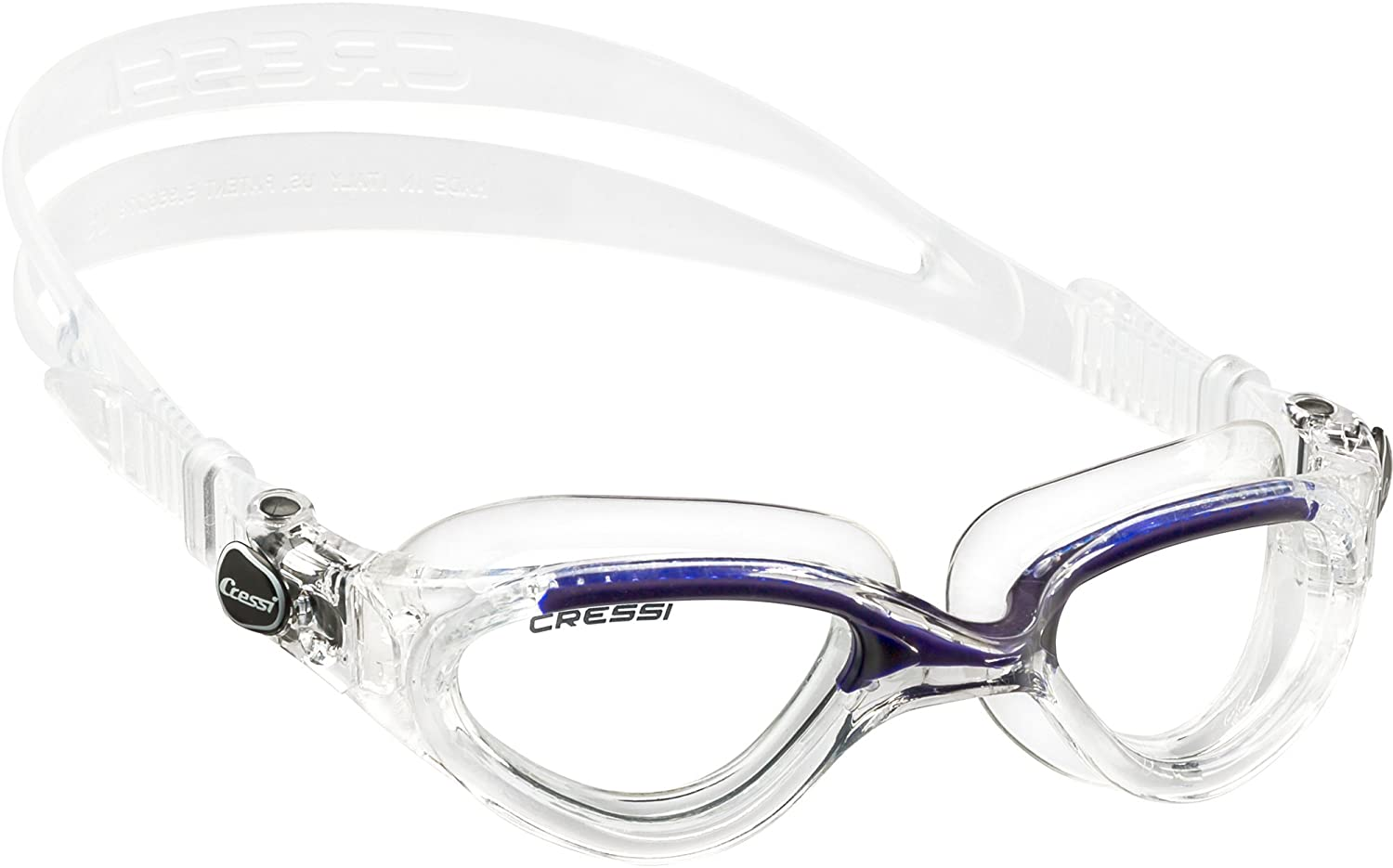 Easy Adjustable Buckles with Protective case Cressi DE202322 Flash Italian Made Ultra Clear Premium Swim Goggles