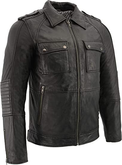 Milwaukee Leather Mens Classic Leather Chap w// Zipper Thigh Pocket Black, 2X