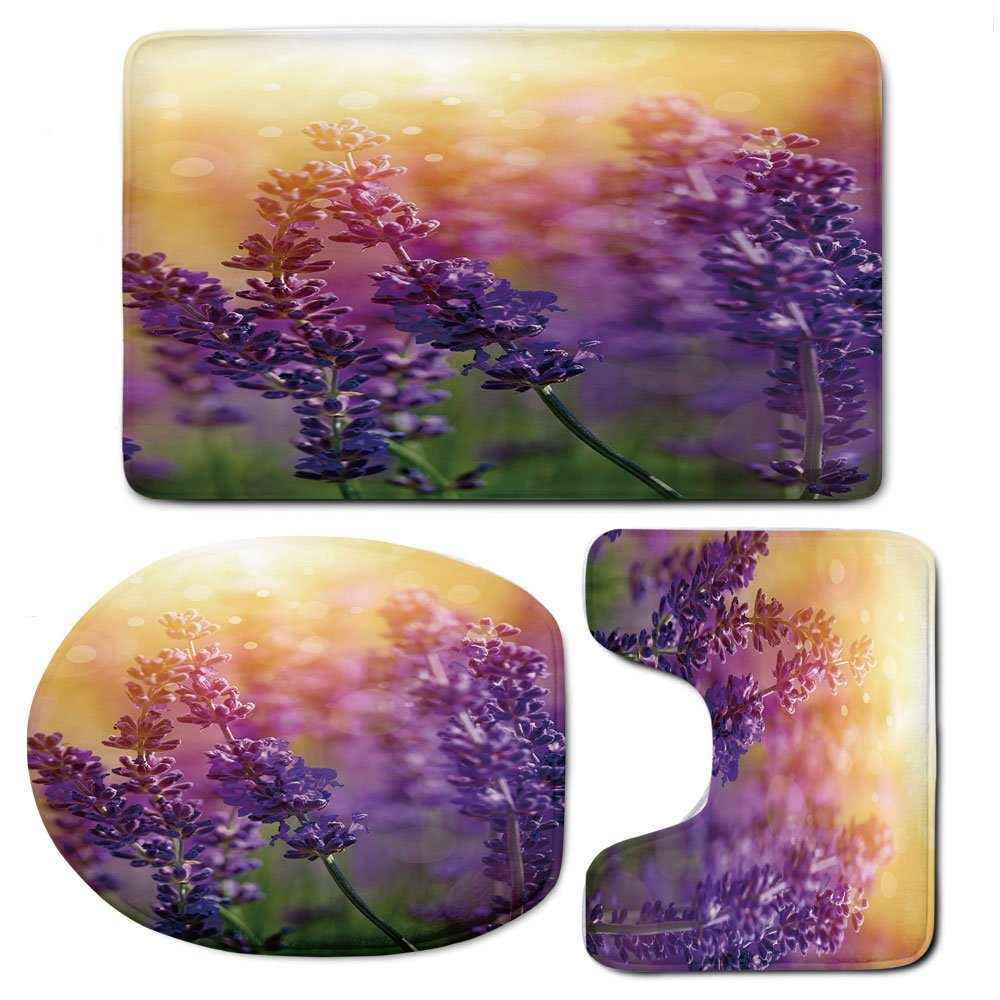 3 Piece Bath Mat Rug Set,Lavender,Bathroom Non-Slip Floor Mat,Detail-of-Scenic-Gardening-Plants-Flourishing-in-Springtime-Fresh-Woods,Pedestal Rug + Lid Toilet Cover + Bath Mat,Violet-Apricot-Green by iPrint (Image #1)