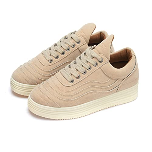 Women Suede Canvas Shoes Stars Platform Ladies Casual Female Trainers Femme Zapatos Mujer Beige 4.5