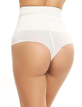 6e5655aa0050 Ekouaer Thong Shapewear Womens Tummy Slimming Control Underwear (White,  Large): Amazon.co.uk: Clothing