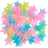 Amaonm 100 Pcs Colorful Glow in The Dark Luminous Stars Fluorescent Noctilucent Plastic Wall Stickers Murals Decals for…