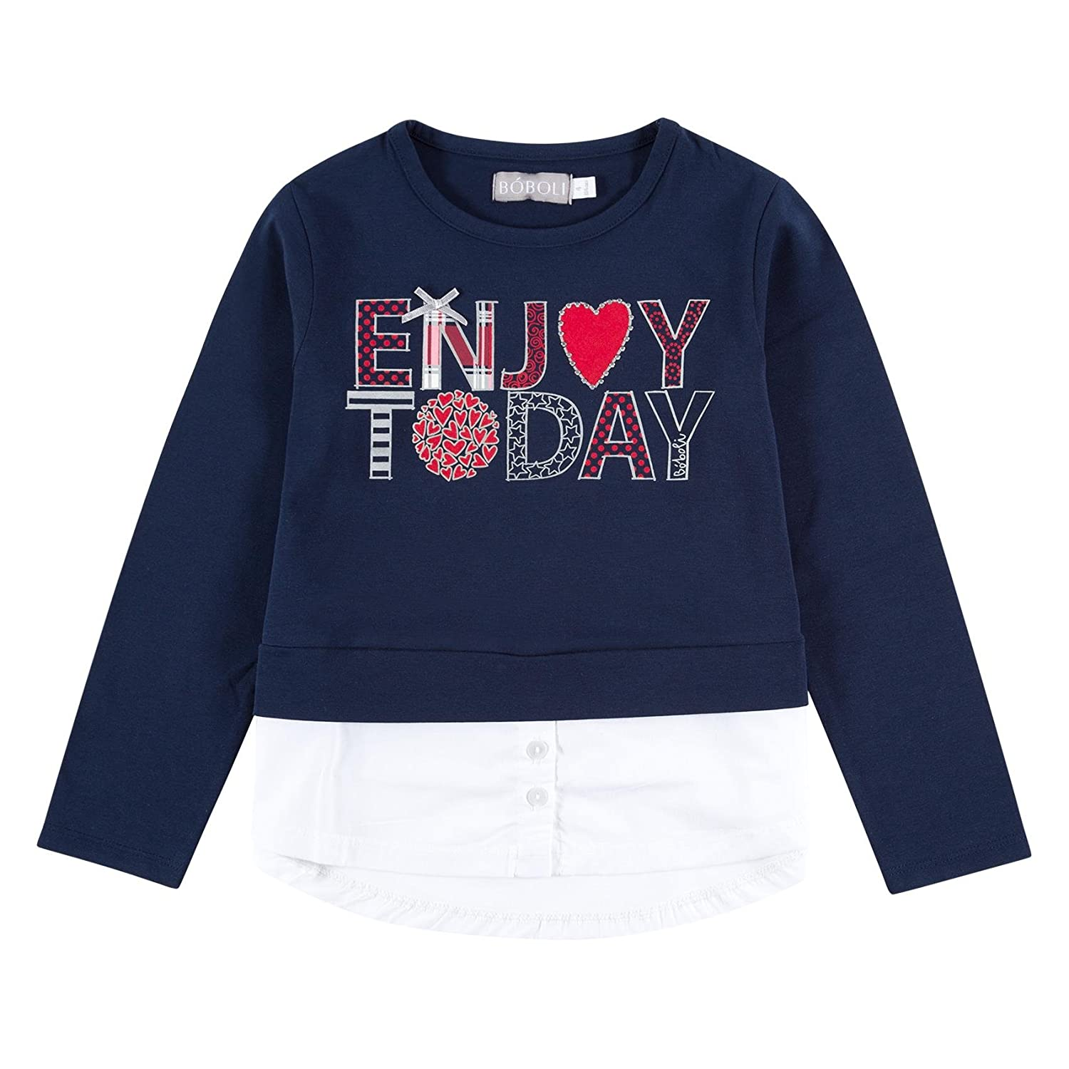 boboli Stretch Knit for Girl, T-Shirt Bambina Blu (Navy) 432032-2440