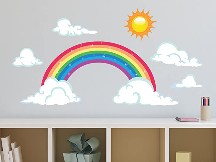 Sunny Decals Sparkling Rainbow Fabric Wall Decal with Sun and Clouds, Large