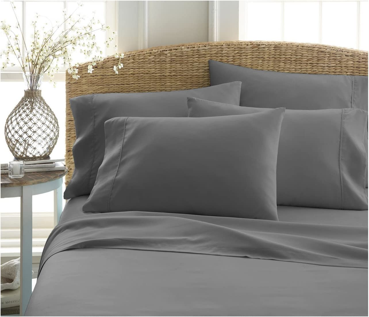Becky Cameron ienjoy Home 6 Piece Double Brushed Microfiber Bed Sheet Set, King, Gray
