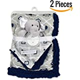 """Baby Blanket + Plush Toy Neck Pillow 30"""" X 40""""— Swaddle Blanket- Security Blanket- Toddler Blanket- Soft Blanket- Plush Throw For Girls and Boys (Navy)"""