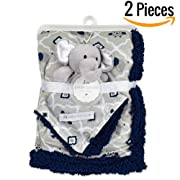 "Baby Blanket + Plush Toy Neck Pillow 30"" X 40""— Swaddle Blanket- Security Blanket- Toddler Blanket- Soft Blanket- Plush Throw For Girls and Boys (Navy)"