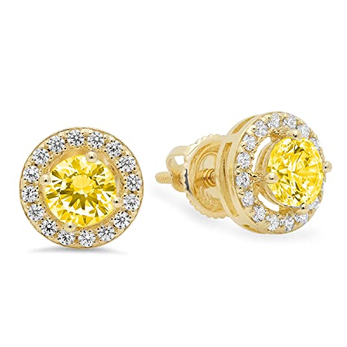 1.5 ct Round Cut Solitaire Stud Earrings in Solid 14k Real Yellow Gold Push Back
