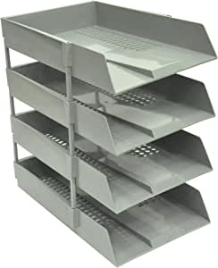 FIS Office Trays Set of 4 Trays, Grey Color, Suitable for A4 & F/S Documents - FSOTSS-GY
