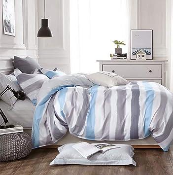 Keayoo Bettwäsche 135x200 Blau Grau Weiß Horizontale Streifen