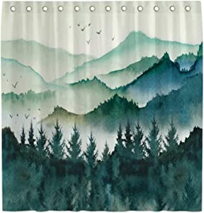 Allenjoy 72x72 Watercolor Mountain Forest Landscape Shower Curtain for Bathroom Sets Green Misty Home Bath Decors Nature Bathtub Decorations Durable Waterproof Fabric Machine Washable with 12 Hooks