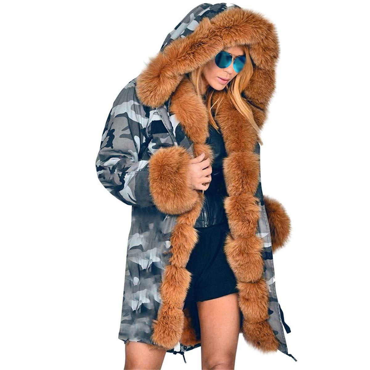 Thenxin Women's Camouflage Hooded Thicken Winter Coat Faux Fur Warm Overcoat Jacket Long Outwear(Brown,M) by Thenxin