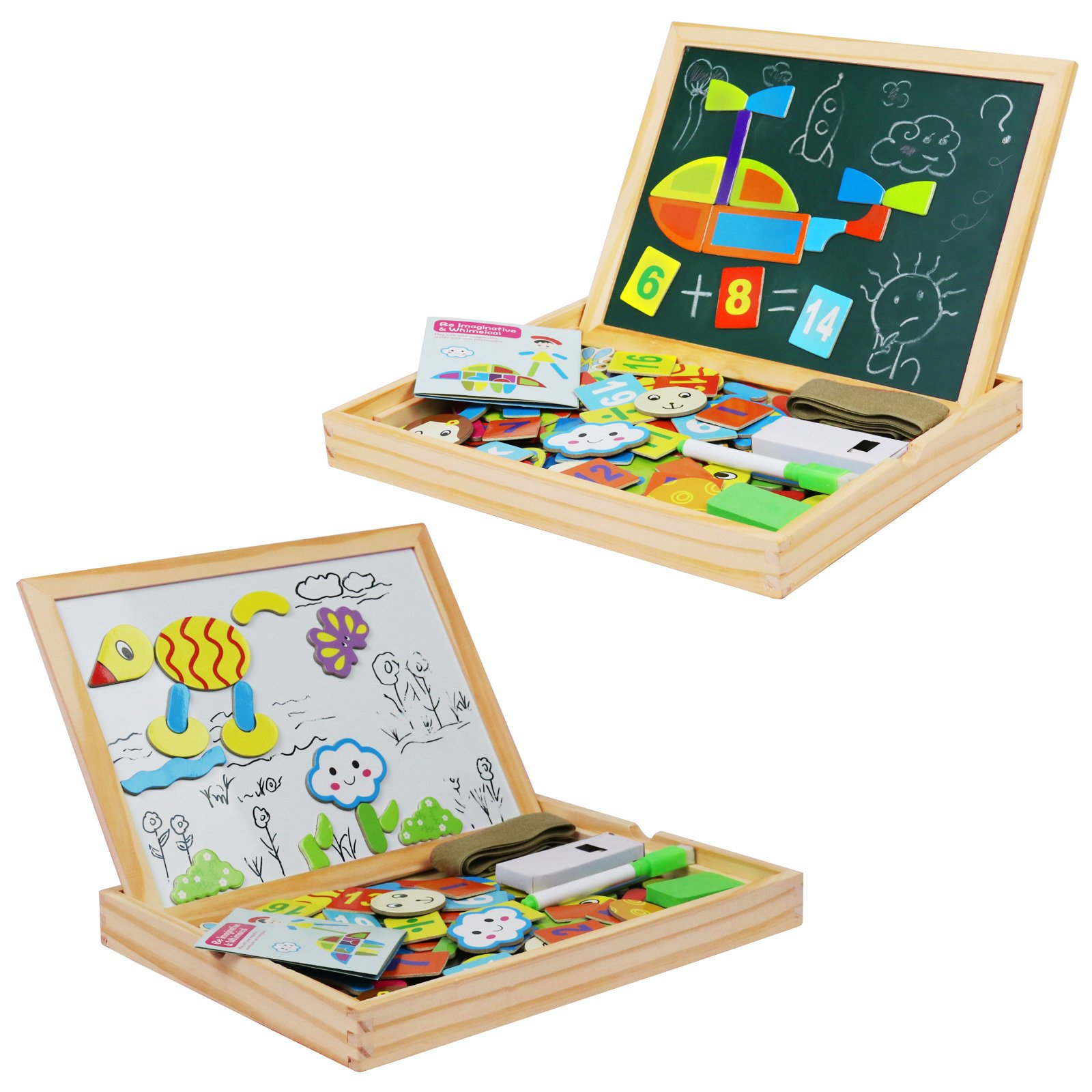 Becko Toddler Magnetic Jigsaw Puzzle Board Wooden Educational Toys for Children, Multifunctional Double Side Travel Wooden Drawing Frame with Dry Erase, Blackboard, Alphabets, Number