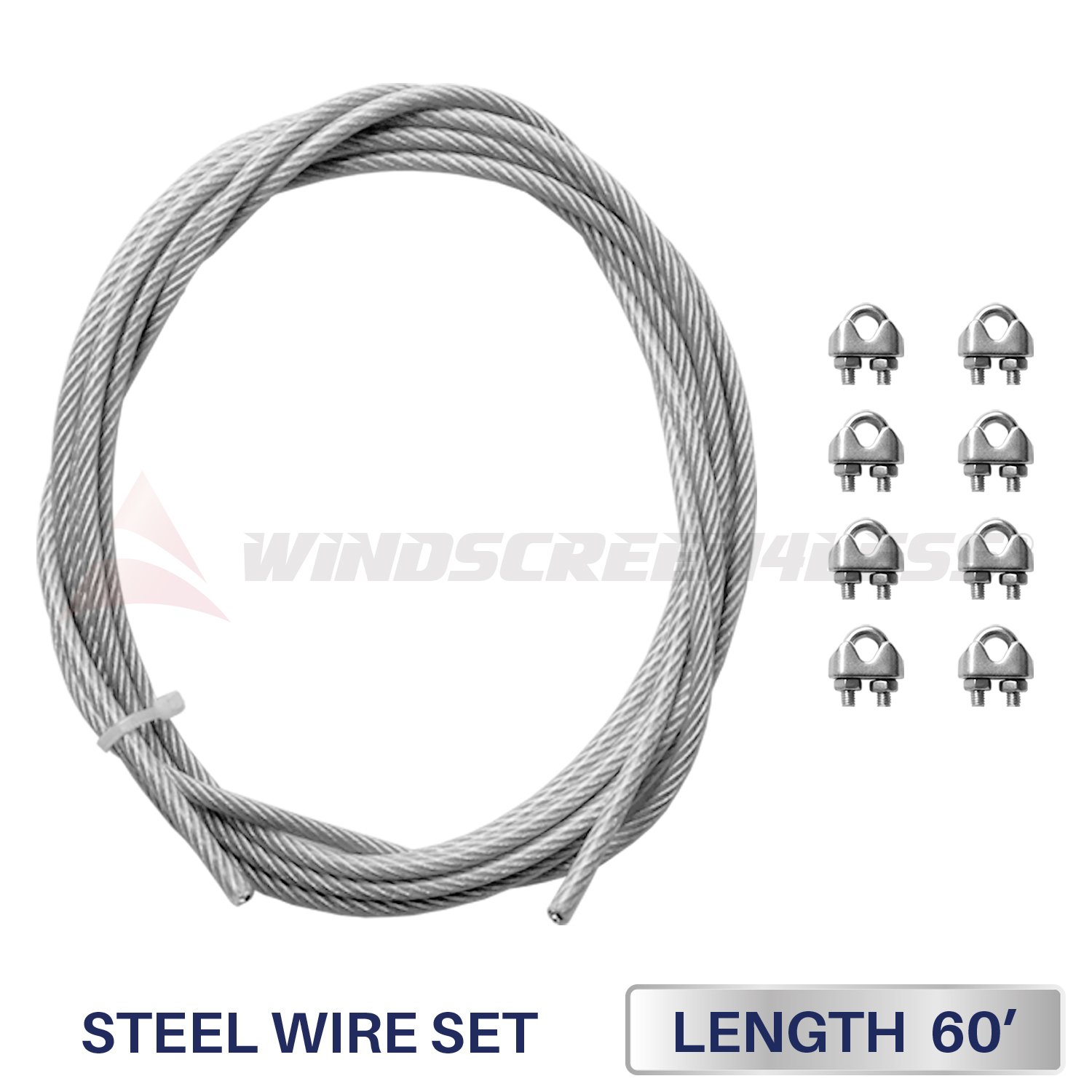 Windscreen4less Shade Sail Wire Rope and 8 Pcs Clips, Vinyl Coated Wire Cable Galvanized Metal Clamp, 3/16-Inch x 60 Feet by Windscreen4less