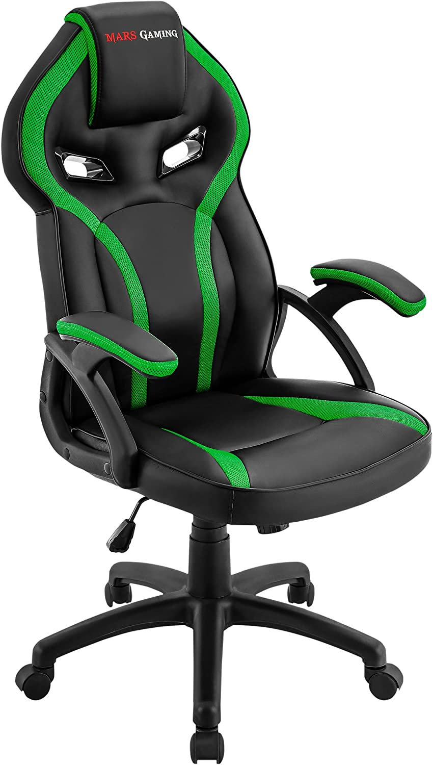MARSGAMING MGC118 Silla Gaming Ergonómica en PU y Nylon, Regulable, Verde, Large