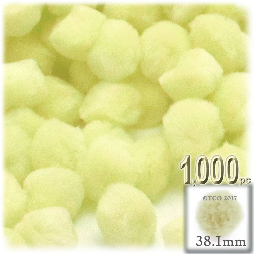 The Crafts Outlet 1,000-Piece Multi purpose Pom Poms, Acrylic, 38mm/about 1.5-inch, round, Light Yellow